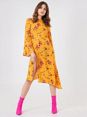 NA-KD Boho High Slit Asymmetric Midi Dress orange gul