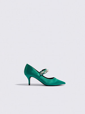 Pumps & klackskor - NA-KD Shoes Beaded Strap Satin Pumps grön