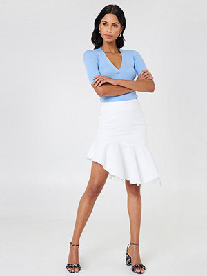 NA-KD Raw Hem Midi Denim Skirt