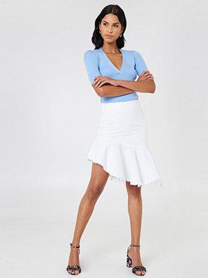 NA-KD Raw Hem Midi Denim Skirt vit