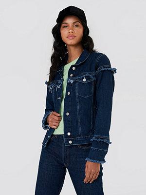 NA-KD Frill Detail Denim Jacket - Jeansjackor