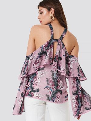 Glamorous Halter Ruffle Print Top rosa multicolor