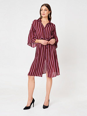 NA-KD Boho Flounce Sleeve Shirt Dress