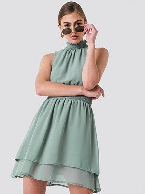 NA-KD Boho High Neck Double Layer Smock Dress