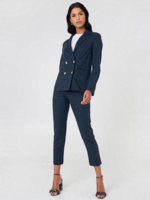 NA-KD Trend marinblå byxor Linen Look Pants