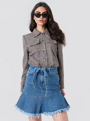 NA-KD Tied Front Denim Skirt - Midikjolar
