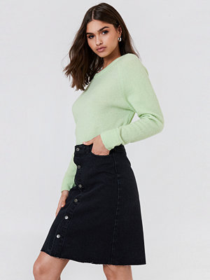 Kjolar - NA-KD Button Up Long Denim Skirt
