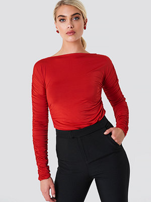 NA-KD Ruched Sleeve LS Top - Vardag