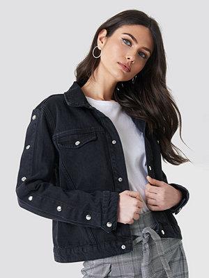 Jeansjackor - NA-KD Trend Poppers Sleeve Denim Jacket