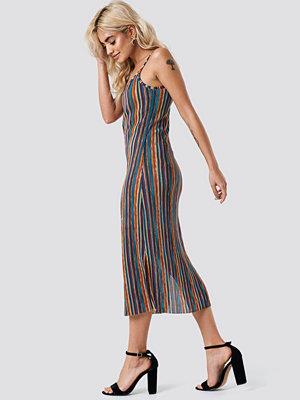 NA-KD Boho Striped Midi Side Slit Dress - Midiklänningar