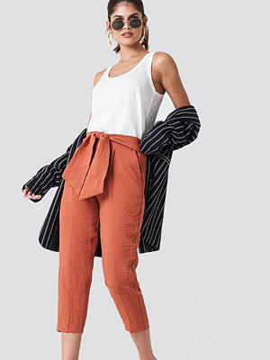Mango röda byxor Bow Belt Trousers