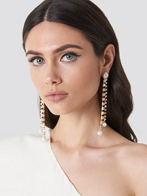 NA-KD Party Hanging Rhinestone Pearl Earrings - Smycken
