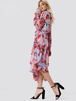 NA-KD Boho Asymmetric Chiffon Frill Dress multicolor