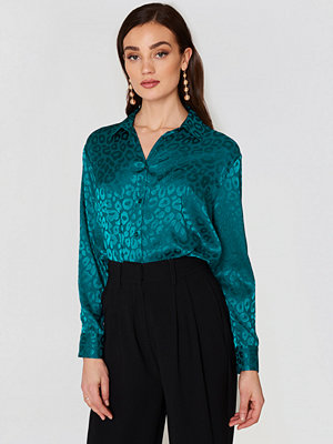 NA-KD Classic Jacquard Long Sleeve Shirt grön