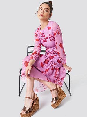 Trendyol Long Sleeve Printed Ruffle Dress - Maxiklänningar