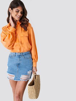 Andrea Hedenstedt x NA-KD Ripped Bottom Denim Skirt - Minikjolar