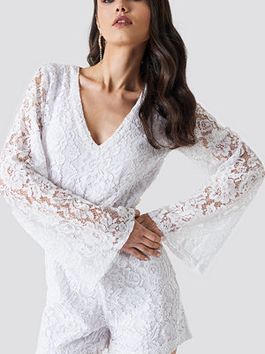 NA-KD Boho Flared Sleeve Lace Playsuit