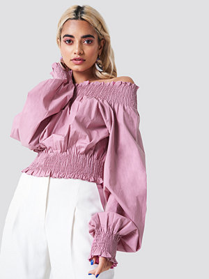 NA-KD Boho Balloon Sleeve Off Shoulder Blouse rosa