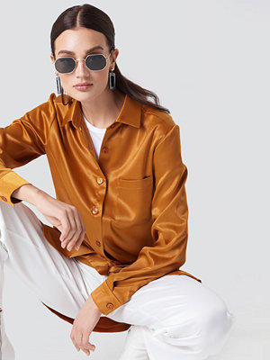 NA-KD Satin Oversized Shirt