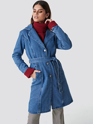 NA-KD Fitted Long Denim Jacket blå