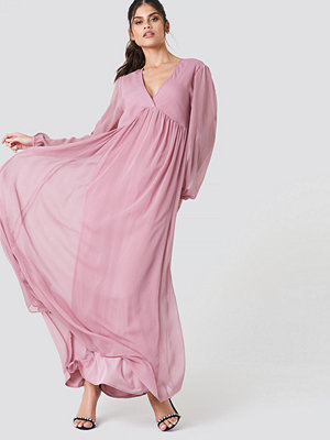 NA-KD Boho Wide Balloon Sleeve Chiffon Dress - Maxiklänningar
