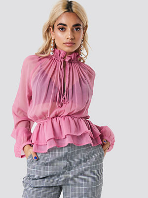 Blusar - NA-KD Boho High Frill Neck Top - Blusar