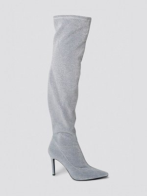 Sahara Ray x NA-KD Lurex Overknee Boots silver