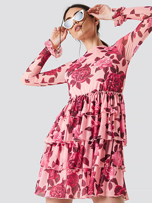 NA-KD Boho Mesh Flounce Short Dress - Miniklänningar