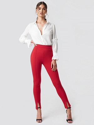 Leggings & tights - NA-KD Front Detail Pants röd