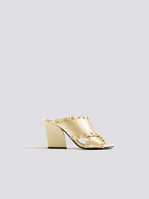 Pumps & klackskor - NA-KD Shoes Frill Cross Mule Heels beige
