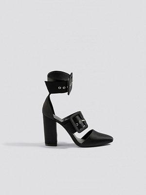 NA-KD Shoes Multi Buckle Block Heels svart