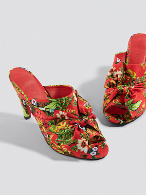 NA-KD Shoes Bow Detail Mule Heels röd multicolor
