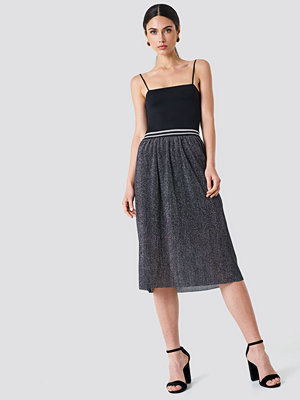 Rut & Circle Glitter Pleat Skirt grå silver
