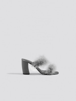 NA-KD Shoes Feather Mule Heel Sandals grå