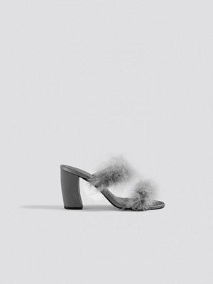 Pumps & klackskor - NA-KD Shoes Feather Mule Heel Sandals grå