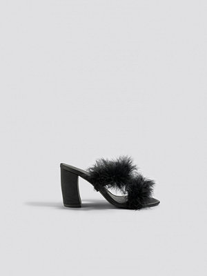 NA-KD Shoes Feather Mule Heel Sandals svart