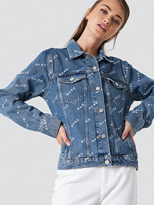 NA-KD Trend Logo Denim Jacket - Jeansjackor
