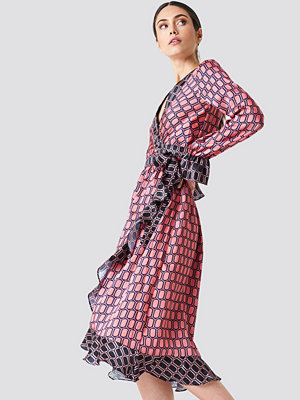 NA-KD Trend Block Colored Wrap Midi Dress - Midiklänningar