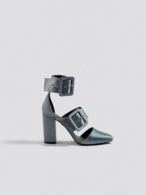 NA-KD Shoes Multi Buckle Block Heels grå