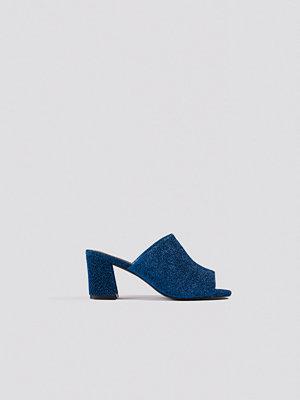 NA-KD Shoes Glitter Mule Heel Sandals blå