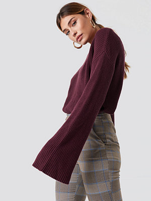 NA-KD Cropped Long Sleeve Knitted Sweater lila
