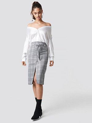 NA-KD Trend Eyelet Wrap Checkered Skirt - Midikjolar