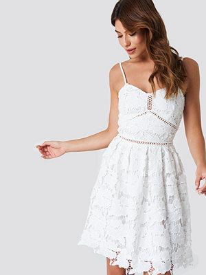 NA-KD Boho Lace Strap Dress vit