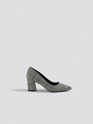 NA-KD Shoes Checked Block Heel Pumps grå multicolor