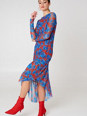 NA-KD Trend Long Sleeve Mesh Dress - Midiklänningar