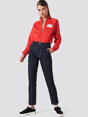 NA-KD Trend Contrast Seam Jeans blå