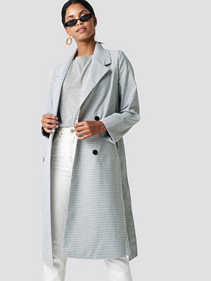 NA-KD Plaid Long Coat grå