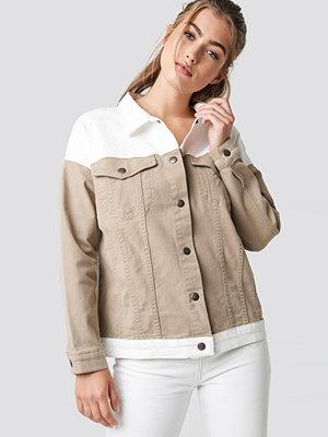 NA-KD Trend Blocking Color Denim Jacket beige /