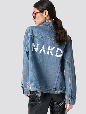 Jeansjackor - NA-KD Branded Denim Jacket blå