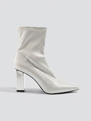 NA-KD Shoes Metallic Block Heel Sock Boots vit